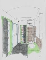 Handskizze Badezimmer von Architekt gezeichnet