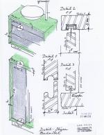Handskizze Badzimmer-Möbel und Details von Architekt gezeichnet