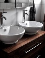 Waschbeckenunterschrank in Nussbaum mit Schubkasten, Oberfläche farblos lackiert